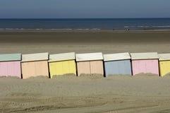 Plażowe budy w Berck w Nord Pas de Calais Fotografia Stock