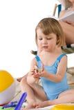 plażowe dziecka matki sztuka piaska zabawki Zdjęcia Stock