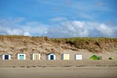 Plażowe kabiny przy paal 9, Texel, holandie Zdjęcia Stock