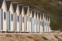 Plażowe kabiny w Barneville-Carteret Normandy Francja Fotografia Stock