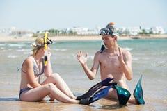 plażowej pary denny ustalony snorkel Fotografia Stock