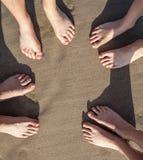 plażowi cieki cztery osoby Zdjęcie Stock