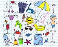 plażowi dzieci target2540_1_ ikony setu wektor royalty ilustracja