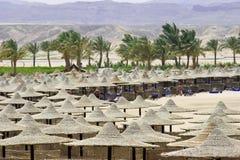 plażowi Egypt sunbeds parasole Obrazy Stock
