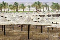 plażowi Egypt sunbeds parasole Fotografia Stock