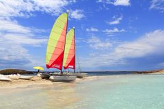 plażowi kota catamaran Formentera hobie illetas Fotografia Royalty Free