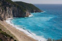 Plażowi Milos. Lefkada wyspa. Grecja. Fotografia Royalty Free