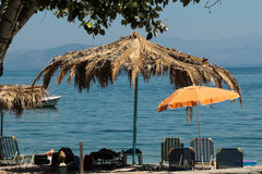 plażowi parasols sunbeds Fotografia Royalty Free