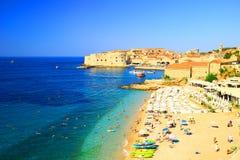Plażowy Banje i Dubrovnik w Chorwacja Zdjęcie Royalty Free