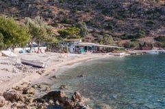 Plażowy bar przy Agios Nikolaos portem o Zakynthos Fotografia Stock