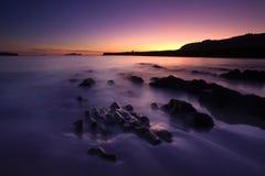 plażowy ciemny zmierzch Fotografia Royalty Free