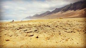plażowy cofete Fuerteventura wyspy wysp surfboard Zdjęcie Stock