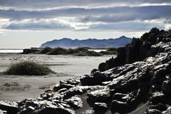plażowy czarny piasek obraz stock