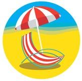 Plażowy hol z parasolem, lato wektoru ikona Zdjęcia Royalty Free