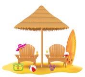 Pla?owy kar?a lounger deckchair drewniany i parasol robi? wektorowa ilustracja s?omiana i trzcinowa royalty ilustracja