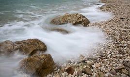 plażowy mglisty Zdjęcia Royalty Free