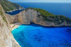 plażowy navagio Zakynthos Zdjęcie Stock