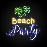 Plażowy Partyjny neonowy wektorowy plakatowy wektor Obraz Royalty Free