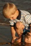 plażowy piaskowaty zmierzch Zdjęcia Royalty Free