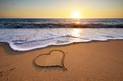 plażowy projekta elementu serce romantyczny Obrazy Stock