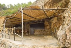 Plażowy schronienie w Deia, Mallorca, Hiszpania Fotografia Stock