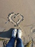 Plażowy serce zdjęcia royalty free