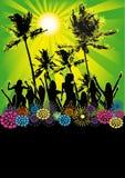 plażowych dancingowych ulotki dziewczyn partyjny plakat Fotografia Royalty Free