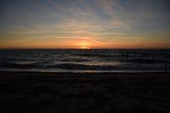 Plaża przy wieczór Obrazy Royalty Free