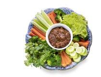 Pla-Ra de prik de Nam, pâte de piments de la Thaïlande d'isolement sur le backgrou blanc image stock