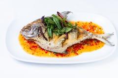 Pla Rad Prik, Thai food Stock Photos