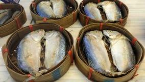 Pla Tu Mackerel fish in bamboo basket. In the market Royalty Free Stock Photos