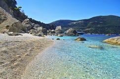Plaża w Ithaca wyspie Grecja Zdjęcie Stock