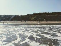 Plaża w zimy zimna morzu Zdjęcia Royalty Free