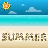 Plaża z lato znakiem Obraz Stock