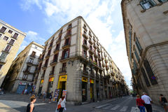 PlaA§aa de Sant Jaume,巴塞罗那耶路撒冷旧城,西班牙 免版税库存照片