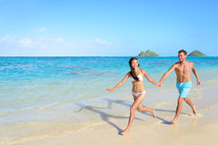 Plaża wakacje - szczęśliwi wakacje w Hawaje Fotografia Stock
