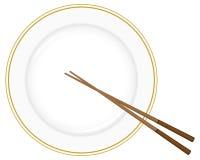 Plaat en eetstokjes royalty-vrije illustratie