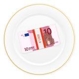 Plaat en tien euro pak Stock Afbeelding