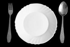 Plaat, lepel en vork royalty-vrije stock afbeelding