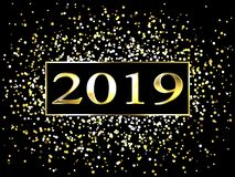 Plaat met een gouden kader, met metaalaantallen 2019 nieuwjaar Briljante sneeuwvlokken, glans, opvlammende lichten royalty-vrije illustratie