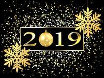 Plaat met een gouden kader, met metaalcijfers 2019 nieuwjaar Briljante sneeuwvlokken op de draad, hoogtepunten, opvlammende licht royalty-vrije illustratie
