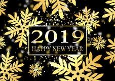Plaat met een gouden kader, met metaalcijfers 2019 nieuwjaar Grote glanzende sneeuwvlokken, glans, opvlammende lichten stock illustratie