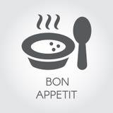 Plaat met lepel vlak pictogram Gedeelte van heet voedsel met stoom en wens bon appetit Etiket voor culinaire ontwerpbehoeften vector illustratie