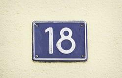 Plaat met nummer achttien Stock Afbeeldingen