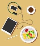 Plaat met ontbijt en modieuze gadgets op de lijst, in een vlakke stijl, hoogste mening stock illustratie