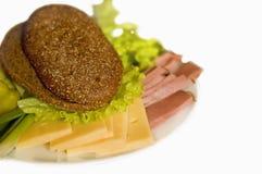 Plaat met plak van ham en kaas Royalty-vrije Stock Fotografie