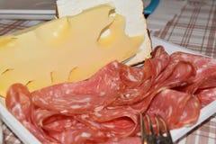 Plaat met plakken van salami en kaas Stock Foto