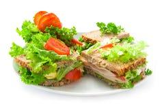 Plaat met sandwiches Stock Afbeelding