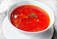 Plaat met soep een borsjt Royalty-vrije Stock Foto