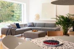 Plaat met vruchten op lijst in vage voorgrond in echte foto van helder woonkamerbinnenland worden geplaatst met venster en hoekzi stock foto's